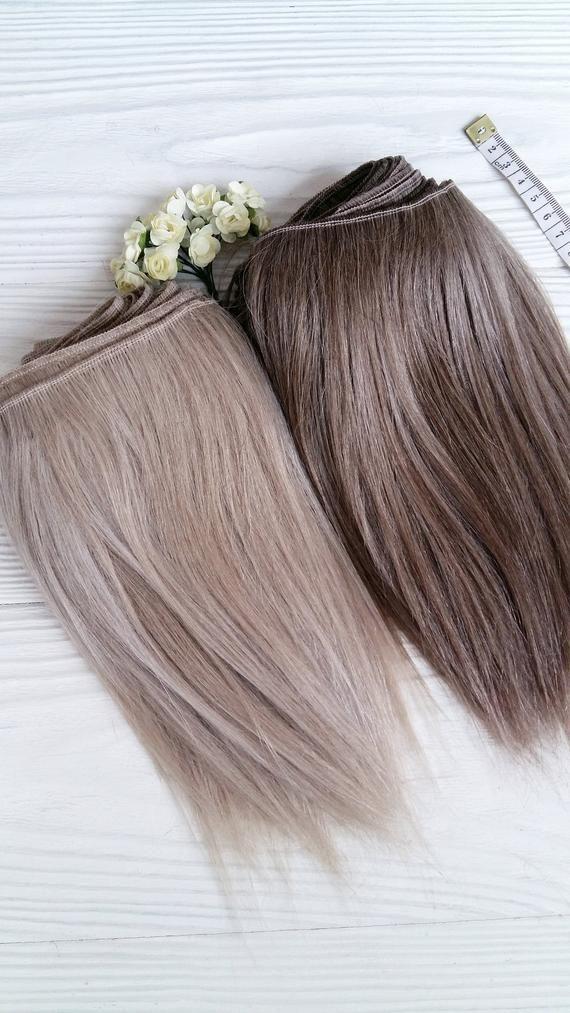mohair weft straight hair dark and light ash, doll hair, dolls hair, goat hair, waldorf doll hair, B