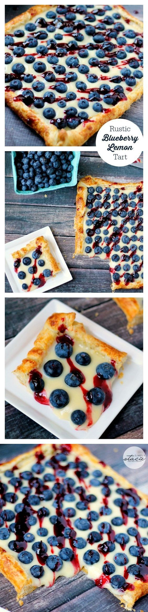 1 cup Blueberries. 1 Egg. 1/4 cup Berry preserves, mixed. 1 cup Lemon curd. 1 sheet Puff pastry dough. 1/4 cup Sugar. 4 oz Cream cheese. 2 tbsp Heavy cream.