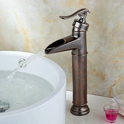 Bathroom Faucets DIY   Hiendure Single Control Brass Vessel Bathroom Faucet  Rustic Bronze U003eu003eu003e