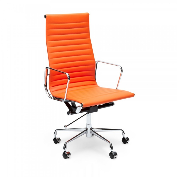 eames orange ribbed style office chair | craft room | pinterest