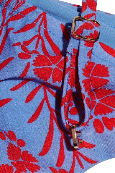 Diane von Furstenberg - Floral-print Bandeau Bikini Top - Light blue - x small