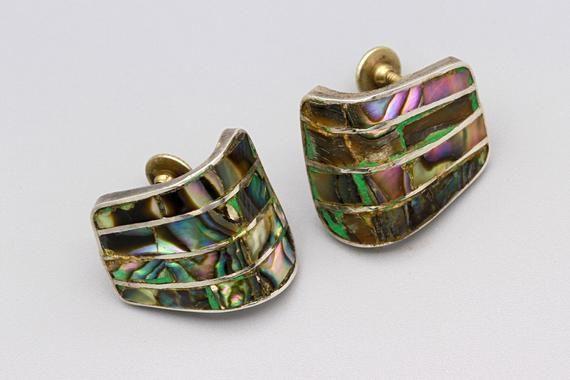 Vintage Art Deco Style Geometric Large Dangle Blue Abalone Shell Earrings
