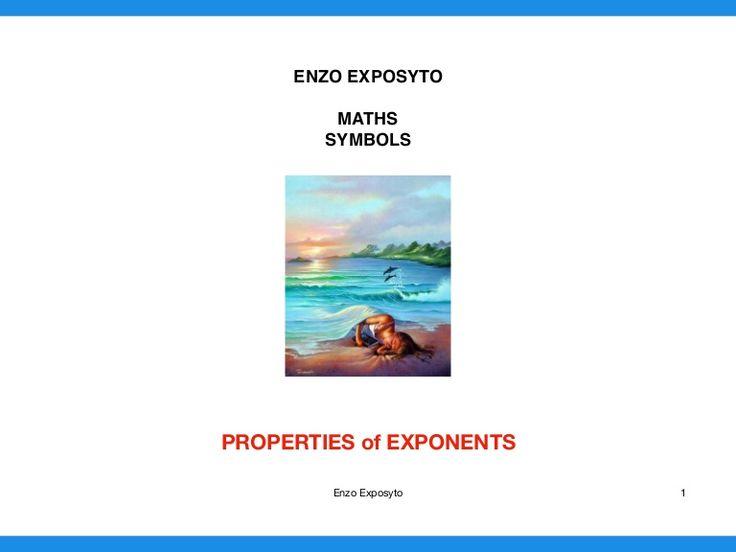 MATHS SYMBOLS - PROPERTIES of EXPONENTS
