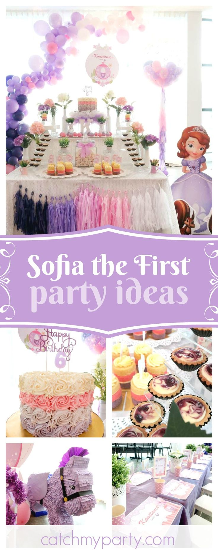 You definitely don't want to miss this Sofia the First birthday party. The dessert table is so beautiful! See more party ideas and share yours a CatchMyParty.com