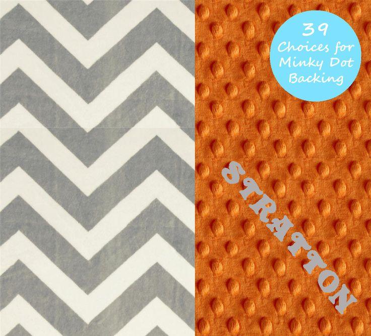 Chevron Minky Baby Blanket Boy, Gray Orange Personalized Baby Blanket // Stroller Blanket // Baby Shower Gift / Chevron Blanket by Sewingdreamsnotions on Etsy