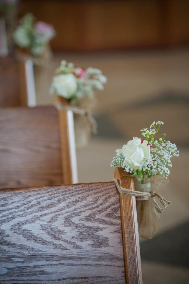 Church Flowers- Simple Roses and Babys Breathe (touch of burlap)