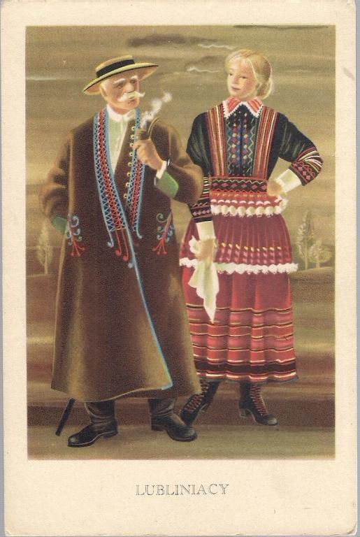 pocztówka ORŁOWSKA Strój ludowy LUBLINIACY 1951