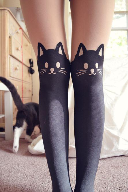Cute, sweet gyaru: Stockings with cat pattern.