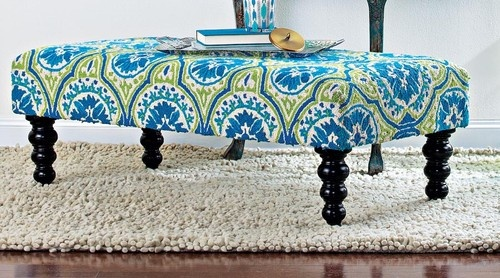 Blue Ottoman tropical ottomans and cubes