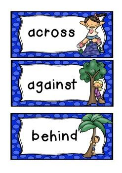 A cute set of 18 common preposition words.*18 words (above, below)* great for displays and word walls* can be used for games or oral language work* 2 sets of words (1 with word prompt, 1 without) and bonus word sleuth!Prefer a different font? Just ask!