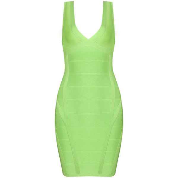 Green Double V Neck Hater Back Zipper Sexy Bandage Dress H646$99 ($99) ❤ liked on Polyvore featuring dresses, sexy bandage dresses, green bandage dress, green dress, zip back dress and sexy dresses
