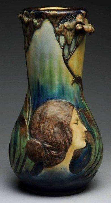 Amphora ceramic monumental blow out portrait vase