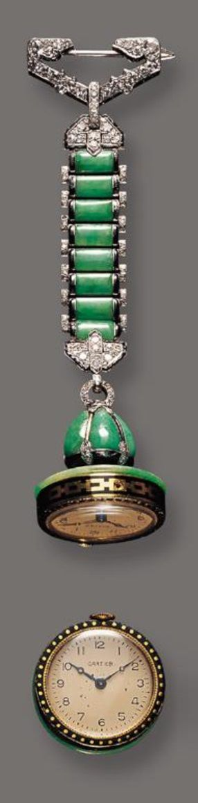 767 best antique watch images on pinterest antique watches cartier an art deco jadeite diamond and black onyx pendant watch circa 1925 mozeypictures Images