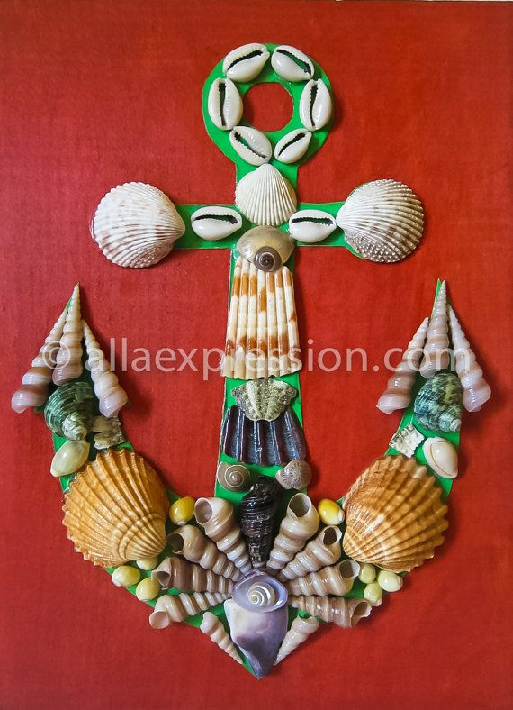 Anchor   Seashell Mosaic Room Wall Decor with by allaexpression, $49.99