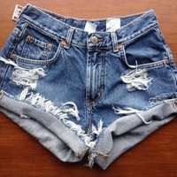 High Waisted Jean Shorts DIY. Buy thrifted jeans, cut and distress.