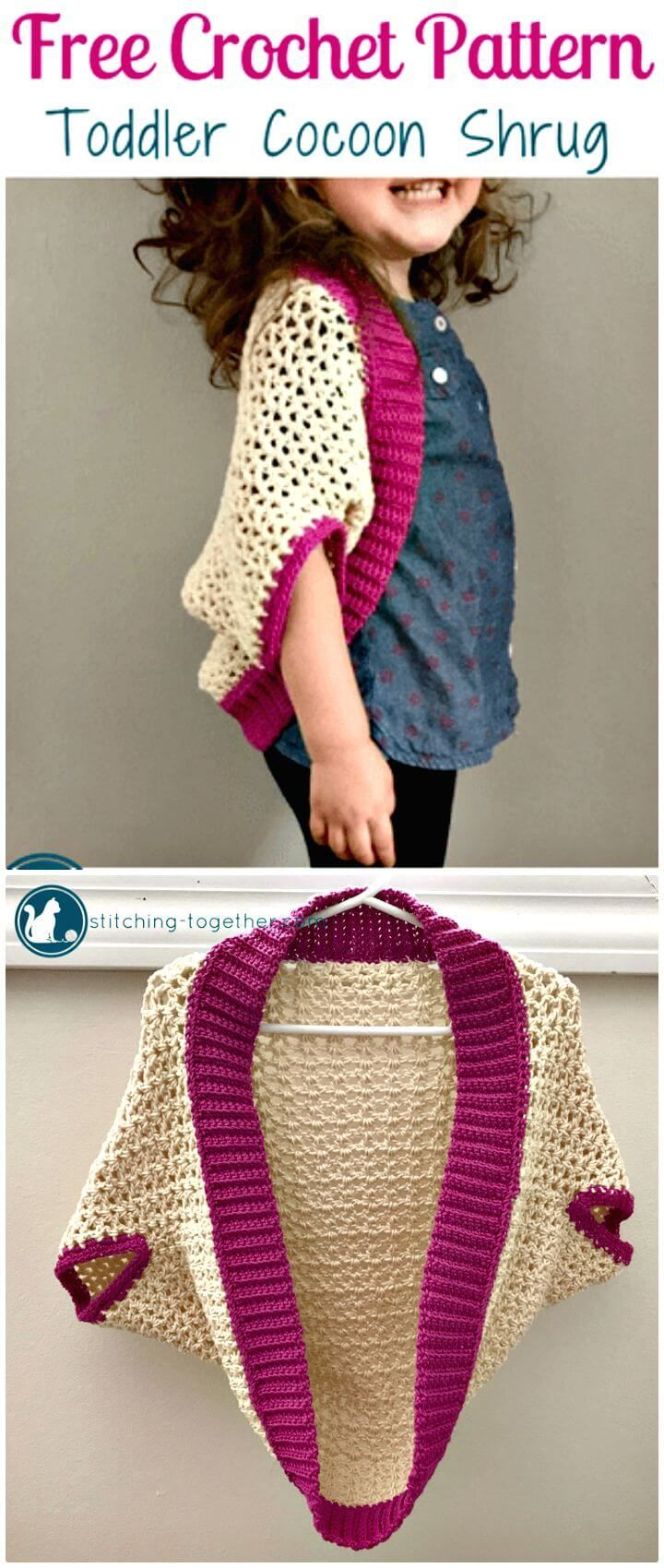 Free Crochet Toddler Cocoon Shrug Pattern - Crochet Shrug Patterns - 20 Free Unique Designs - DIY & Crafts
