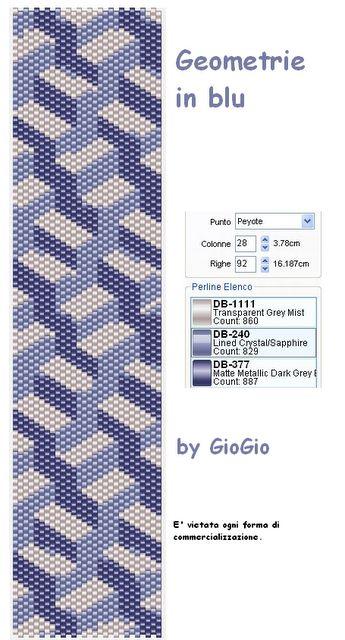 Peyote Pattern in Blue.