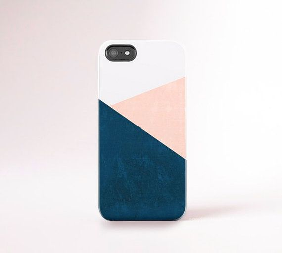 Navy iPhone 6 Case Peach Chevron iPhone 5 Case by casesbycsera