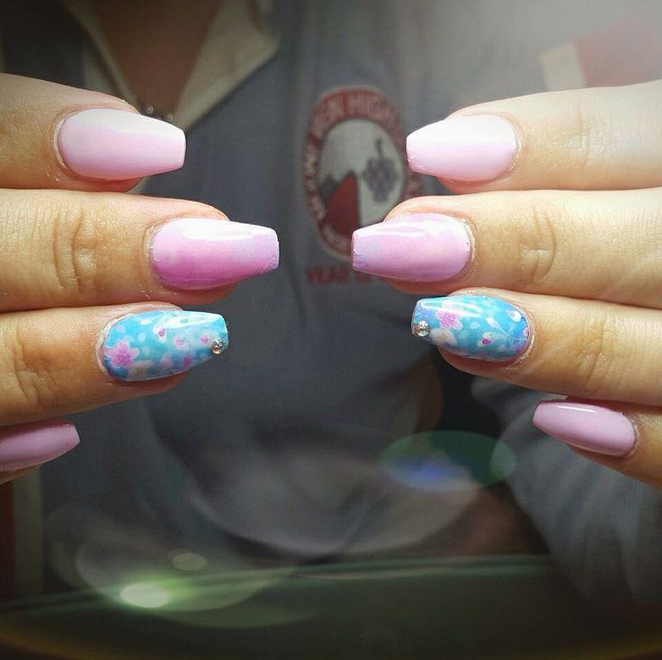 Pink & floral ballerina nail design
