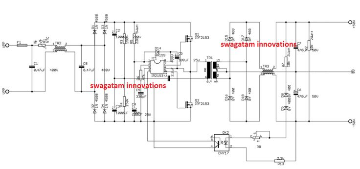 350 watt smps circuit for audio amplifiers