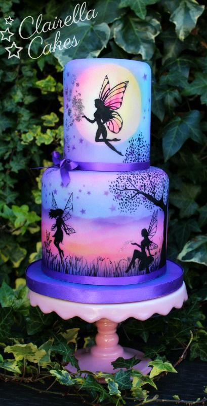 Enchanted Moon Fairies Cake by Clairella Cakes - airbrushed & hand painted - For all you Airbrushing supplies, please visit http://www.craftcompany.co.uk/equipment/airbrushing.html
