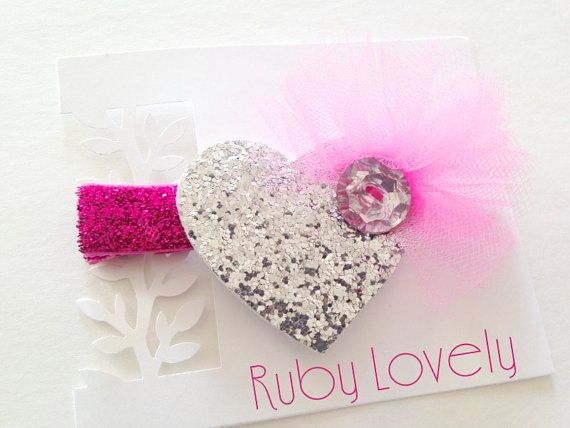 Hey, I found this really awesome Etsy listing at https://www.etsy.com/listing/221157335/girls-silver-and-pink-glitter-heart-clip
