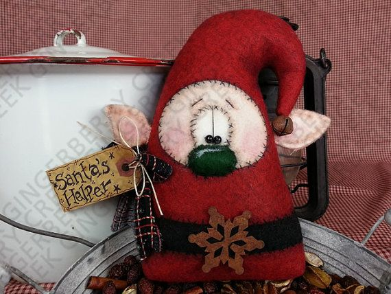 Elvin Santa's Helper Pattern 129 Primitive by GingerberryCreek
