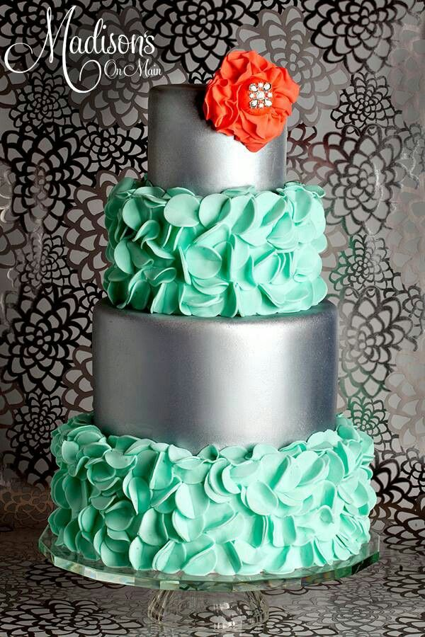 Cute cake! but think of it with Lime Green ruffles, White instead of silver and a Navy blue flower!!!!!