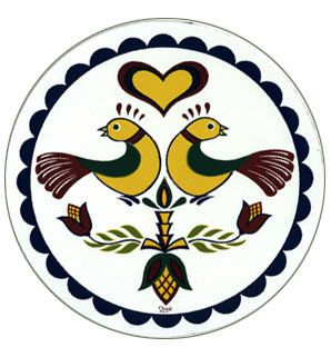 Pennsylvania Dutch good luck and happiness Distelfink bird is doubled to cover even the most difficult of life's moments.