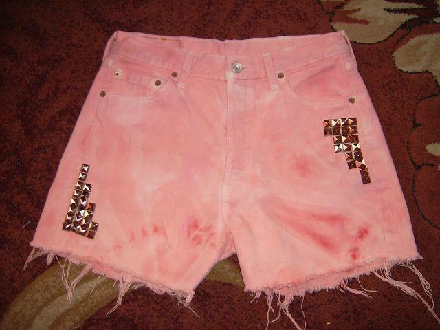 Lady at home DIY Blog: DIY acid wshed pastel shorts Tutorial jak zrobić wiosenne, pastelowe szorty z ćwiekami