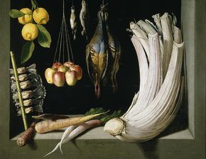 Still Life with Game Fowl,Vegetables and Fruits, Prado, Museum,Madrid,1602,HernaniCollection - Museo del Prado - Bodegón del cardo, por Juan Sánchez Cotán, 1602.