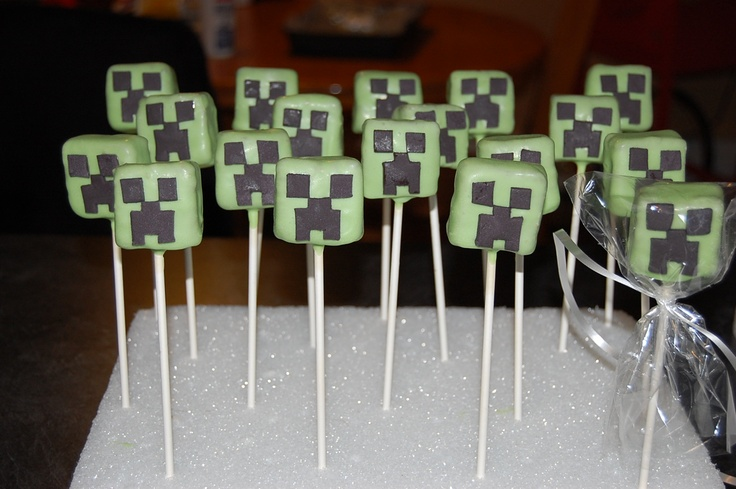 Creeper cake pops from the game Minecraft for Alex's 13th Birthday