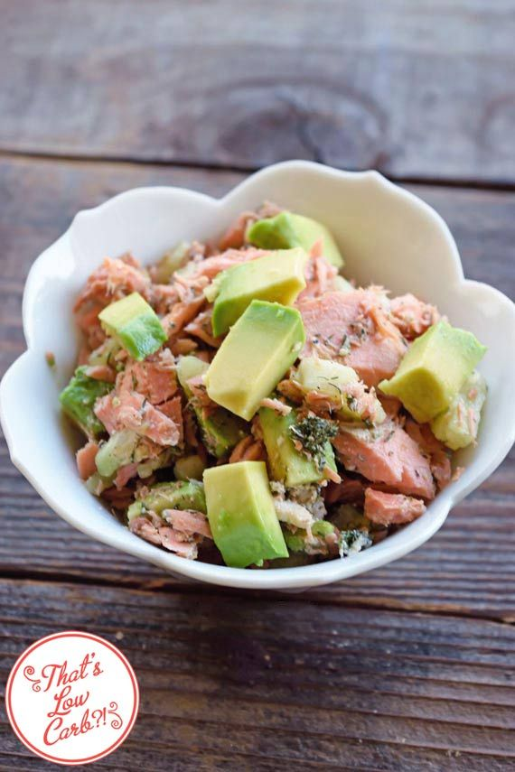 Low Carb Balsamic Salmon Salad - salmon fillet, garlic powder, dried dill, cucumber, avocado, balsamic vinegar, salt & pepper
