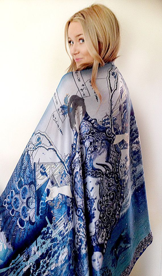 Japanese Rijks museum art finalist silk satin scarf, wrap or shawl Winter or Summer. Vibrant blues. Luxury gift for her, 4 week wait to ship