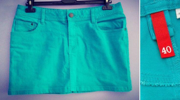 MINI GONNA turchese denim fascia tg. 40 42 44 vita 84 cm  H&M  tasche donna blu
