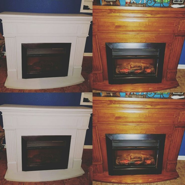 before and after electric fireplace makeover with chalk ...
