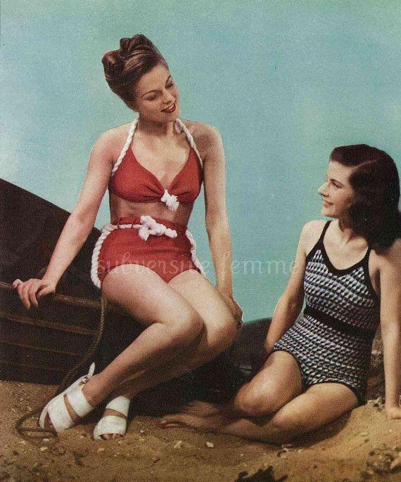 1940s Pinup Swimsuit nautical bikini pattern by SubversiveFemme, $2,00