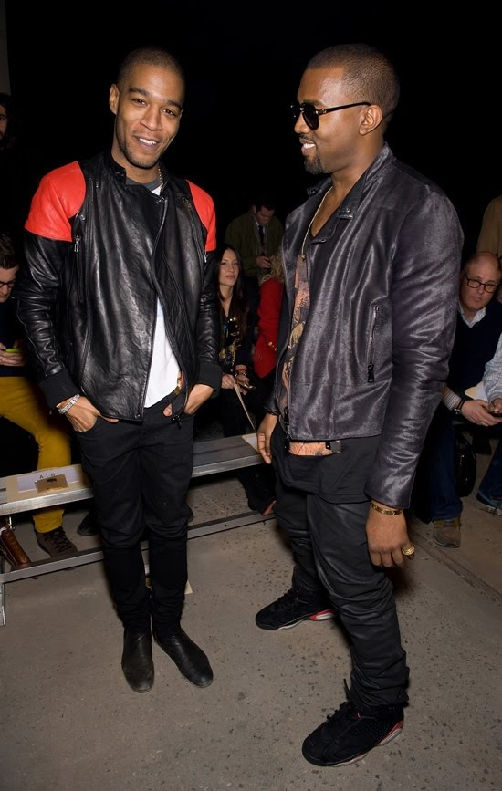 Kid Cudi & Kanye West. Kid Cudi wearing his Fire Jacket.