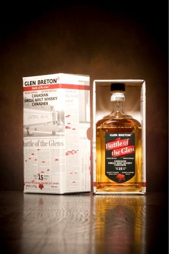 """Glen Breton Battle of the Glen Whiskey. When the Scotch Whisky Association launched its law suit against Glenora Distillers in 2000, a media frenzy soon followed in newspapers, magazines, and online forums. North America's only Single Malt Whisky distillery was a hot topic amongst the whisky and local cultural communities. Upon victory in the summer of 2009 it was decided to dedicate a bottling to celebrate this epic battle so fittingly called the """"Battle of the Glen""""."""
