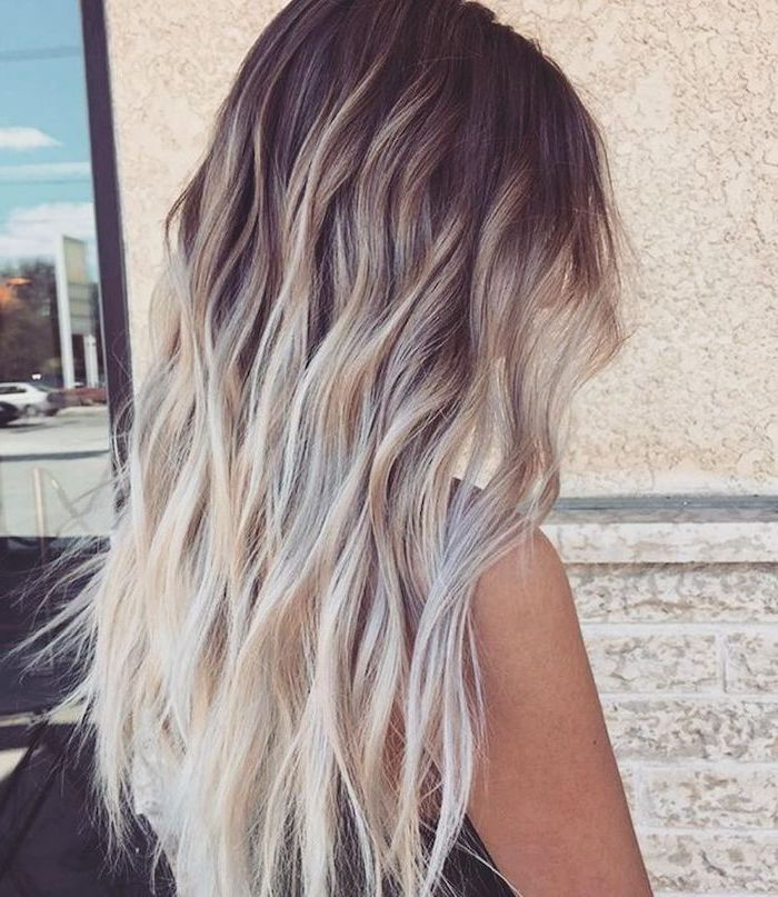 How To Ombre Hair Black To Platinum Blonde Long Wavy Hair White Background In 2020 Platinum Blonde Hair Ombre Curly Hair Ombre Hair