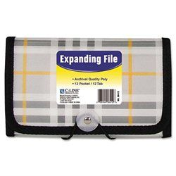 C-Line Expanding File, Plaid, Coupon, 13 pockets, 1.5 Exp, 1/EA (00038944584126) Plaid design expanding files are made of durable, archival quality polypropylene. Keeps papers organized and protected. Features stitched edges and a button-elastic closure. Includes preprinted tab inserts.