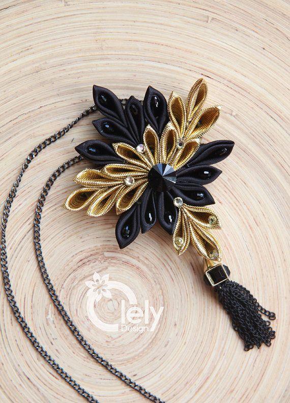 Gold fabric necklace with rhinestone kanzashi by OlelyDesign