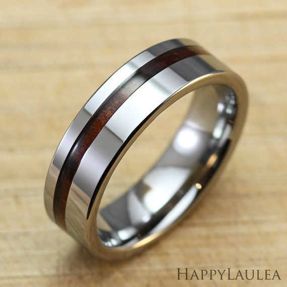 Tungsten Carbide Ring with Koa Wood Inlay (6mm width, flat style)    This tungsten ring features a thin koa wood inlay off-centered and a polished