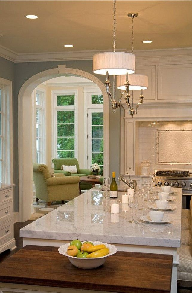 Love the thick marble countertop with lights,Benjamin Moore Wedgewood gray HC-146