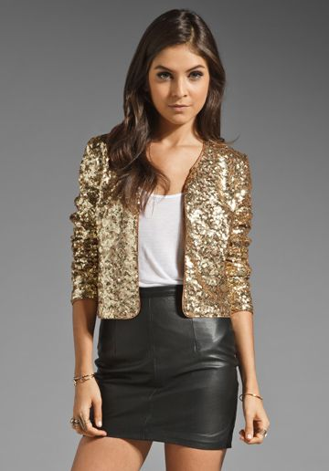 BB Dakota Taryn Two Tone Sequin Jacket in Gold