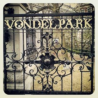 Vondelpark, Gate, Amsterdam by ArtistianDavid, via Flickr | #typography #gold #brown #green #iphoneography