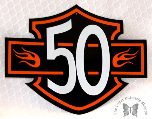 50th birthday Harley crest party decoration