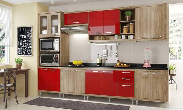 Cozinha Modulada Completa 7 Módulos com Paneleiro 4 Portas Espaço para Forno/Micro-ondas Argila/Vermelho - Multimoveis