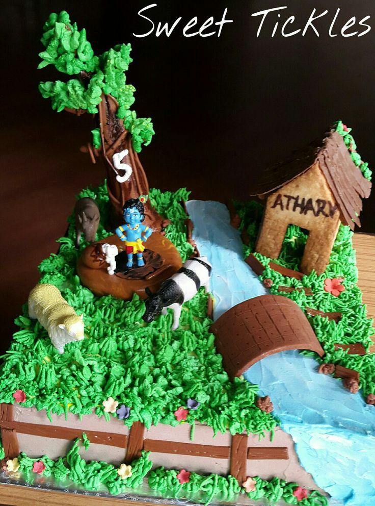 #krishna theme cake!
