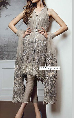 Sand Grey Chiffon Suit | Buy Baroque Pakistani Dresses and Clothing online in USA, UK